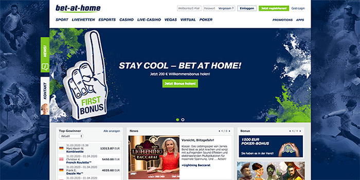 homepage bet at home